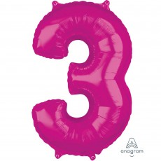Number 3 Party Decorations - Shaped Balloon Mid-Size Pink  66cm