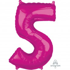 Number 5 Party Decorations - Shaped Balloon Mid-Size Pink  66cm