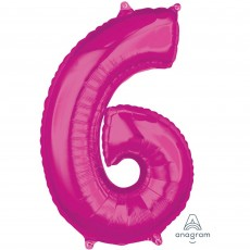 Number 6 Pink Mid-Size Shaped Balloon