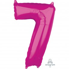 Number 7 Party Decorations - Shaped Balloon Mid-Size Pink  66cm