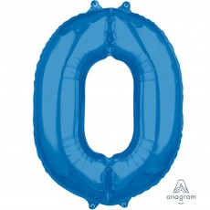 Number 0 Blue Mid-Size Shaped Balloon