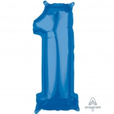 Number 1 Party Decorations - Shaped Balloon Mid-Size Blue  66cm