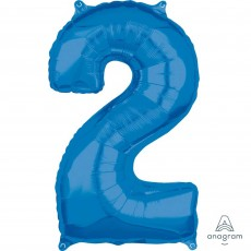 Number 2 Blue Mid-Size Shaped Balloon