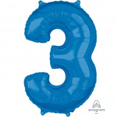 Number 3 Party Decorations - Shaped Balloon Mid-Size Blue  66cm