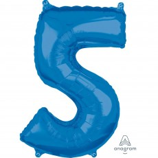 Number 5 Blue Mid-Size Shaped Balloon