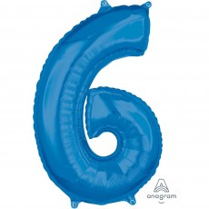 Number 6 Blue Mid-Size Shaped Balloon