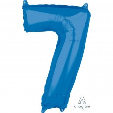 Number 7 Blue Mid-Size Shaped Balloon