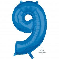 Number 9 Blue Mid-Size Shaped Balloon
