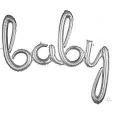 Baby Shower - General Silver CI: Script Shaped Balloon