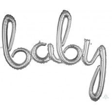 Silver Baby Shower - General CI: Script Phrase Shaped Balloon 99cm x 83cm