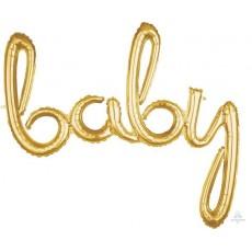 Gold Baby Shower - General CI: Script Phrase Foil Balloon 99cm x 83cm