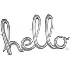 Silver CI: Script Hello Shaped Balloon 99cm x 55cm