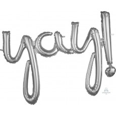 Silver CI: Script Yay! Shaped Balloon 88cm x 63cm