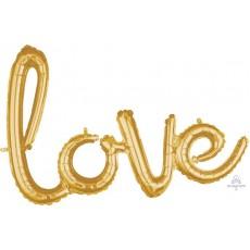 Gold Love CI: Phrases Script Shaped Balloon 78cm x 53cm