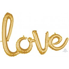 Love Gold CI: Phrases Script Shaped Balloon