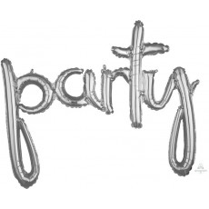 Silver CI: Script Party Shaped Balloon 99cm x 78cm