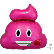 Emoji SuperShape XL Emoticon Pink Poop Shaped Balloon