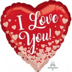 Heart Rose Gold Standard HX Rose Gold Hearts I Love You Shaped Balloon 45cm