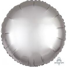 Round Satin Luxe Platinum Silver Standard HX Foil Balloon 45cm