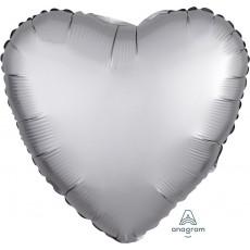 Heart Satin Luxe Platinum Silver Standard HX Shaped Balloon 45cm