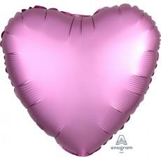 Heart Satin Luxe Flamingo Pink Standard HX Shaped Balloon 45cm