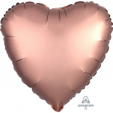 Heart Satin Luxe Rose Copper Pink Standard HX Shaped Balloon 45cm