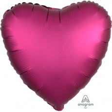 Heart Satin Luxe Pomegranate Pink Standard HX Shaped Balloon 45cm