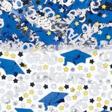 Graduation Bright Royal Blue Embossed Confetti