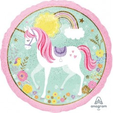 Round Magical Unicorn Standard Holographic I Believe in Unicorn Foil Balloon 45cm