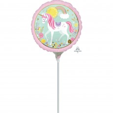Round Magical Unicorn Foil Balloon 23cm