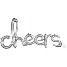 Silver CI: Script Cheers Shaped Balloon 101cm x 53cm