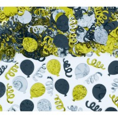 New Year Black, Silver & Gold Balloons Confetti