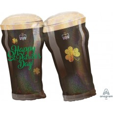SuperShape XL Beer Glasses Happy St Patrick's Day Shaped Balloon 66cm x 71cm