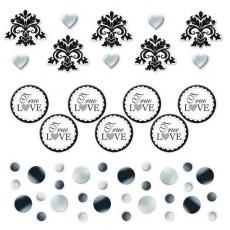25th Anniversary Black, Silver, White Black Scroll Confetti