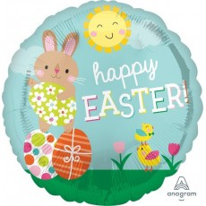 Round Standard HX Bunny & Chick Happy EASTER! Foil Balloon 45cm