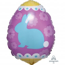 Easter Yellow & Blue Junior Shape XL Bunny Egg Shaped Balloon
