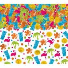 Hawaiian Luau Tiki, Flamingo, Sun, Flower, Palm Tree & Dots Confetti