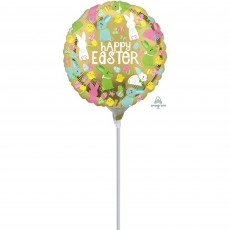 Round Gold Happy Easter Foil Balloon 22cm