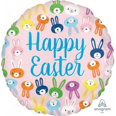 Easter Standard HX Cute Bunny Faces Foil Balloon