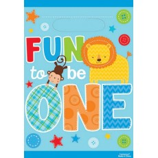 Boy One Wild Folded Fun to be One Favour Bags Pack of 8