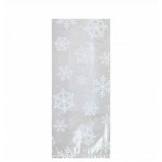 Christmas Party Supplies - Favour Bags White Snowflakes L Cello Loot