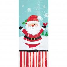 Christmas Party Supplies - Favour Bags Jolly Santa Small Cello Loot