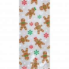 Christmas Gingerbread Men Large Cello Loot Favour Bags
