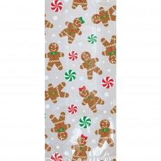 Christmas Party Supplies - Favour Bags Gingerbread Men L Cello Loot