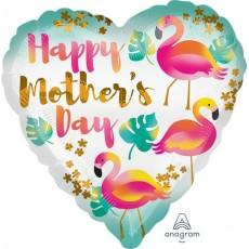 Heart Standard HX Flamingos Happy Mother's Day Shaped Balloon 45cm