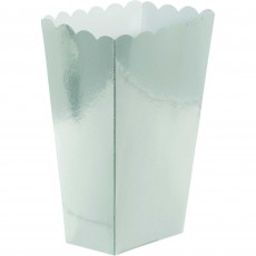 Silver Small Popcorn Treat Favour Boxes Pack of 5