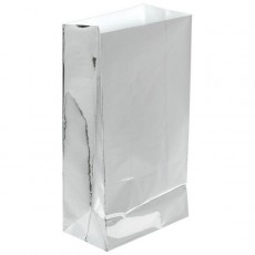 Silver Large Paper Favour Bags 25cm x 13cm Pack of 12