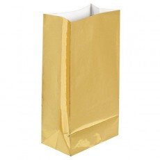 Gold Large Paper Favour Bags 25cm x 13cm Pack of 12