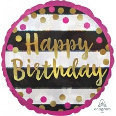 Happy Birthday Pink & Gold Milestone Standard Holographic Foil Balloon