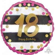 18th Birthday Pink & Gold Milestone Standard Holographic Foil Balloon 45cm